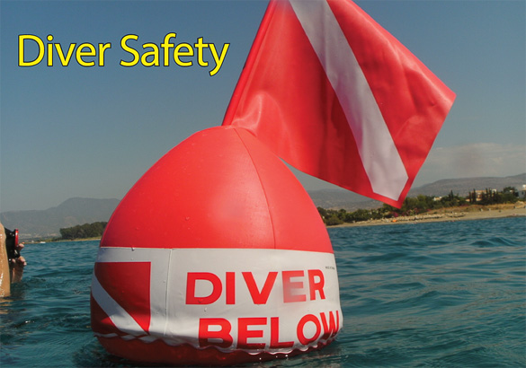 Diver below red mark in sea level